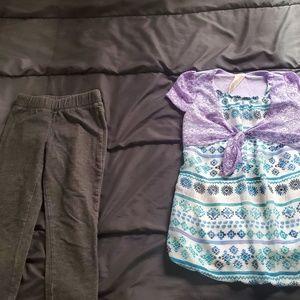 girl 7/8 purple /white /blue top and leggings